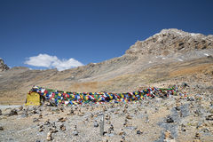 Prayer flags on nakeela pass Stock Photography