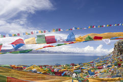 Prayer Flags and Namtso Lak Stock Photos