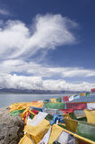 Prayer Flags and Namtso Lak Royalty Free Stock Photos