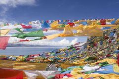 Prayer Flags and Namtso Lak Royalty Free Stock Photo