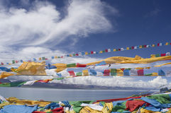Prayer Flags and Namtso Lak Stock Images