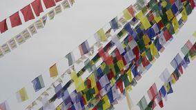 Prayer flags in Nepal stock footage