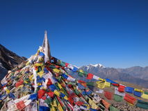 Prayer flags Nepal. Bunch of prayer flags in Himalayas, Nepal Stock Images