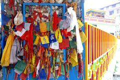 Prayer Flags. Put up by locals at Thekchhokling Gompa Monastery Stock Photo