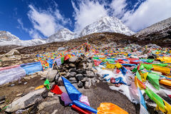 Prayer flags on snow mountains at Yading. Prayer flags on snow mountains at Yading, China Royalty Free Stock Image