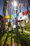 Sunshine and Prayer flags , Longta , wind horse, Bhutan stock photo
