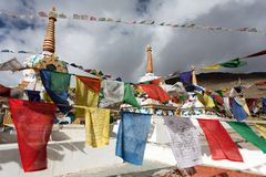 Prayer flags with stupa Royalty Free Stock Photography