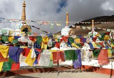 Prayer flags with stupas Stock Images