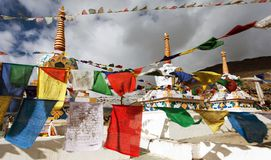 Prayer flags with stupas Stock Image
