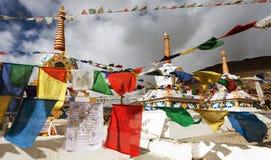 Prayer flags with stupas Stock Image