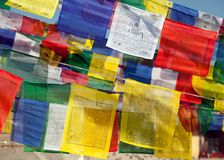 Prayer flags with stupas Stock Photography