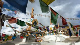 Prayer flags with stupas - Kunzum La pass - India Stock Images