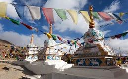 Prayer flags with stupas - Kunzum La pass - India Stock Photography