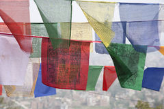 Prayer flags at Swayambhunath, Kathmandu Stock Images