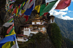 Prayer flags of Taktsang 'Tigers Nest' Monastery, Paro, Bhutan Royalty Free Stock Photo