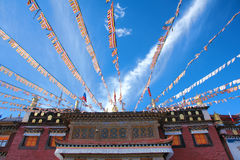 Prayer flags and temple Royalty Free Stock Photography