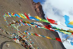 Prayer flags in Tibet. Prayer flags on a mountain pass on the way back from the Namtso lake to Lhasa Royalty Free Stock Photos
