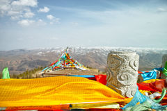 Prayer flags. Tibetan Prayer flags mascot is a people of prayer Royalty Free Stock Images