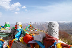 Prayer flags. Tibetan Prayer flags mascot is a people of prayer Royalty Free Stock Photos