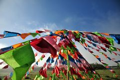Prayer flags. Tibetan prayer flags are often seen in the area, it is a religious belief Royalty Free Stock Images