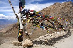 Prayer Flags tied to a Pole Royalty Free Stock Photography