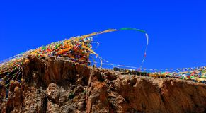 Prayer flags on the top of hill Royalty Free Stock Photos