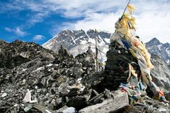 Prayer flags on a top of Kongma La pass Stock Photography