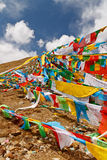 Prayer Flags on top of the mountain Royalty Free Stock Photos