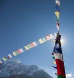 Prayer Flags. Trekking around Namche Bazaar and views to Everest Sagamatha national Park Nepal Royalty Free Stock Photo
