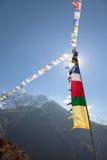 Prayer Flags. Trekking around Namche Bazaar and views to Everest Sagamatha national Park Nepal Stock Images