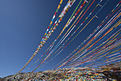 Prayer Flags Waving in the Wind Stock Photography