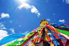 The Prayer Flags in western Sichuan. The Prayer Flags are flags of various colors, shapes, and designs blowing in the wind, In the mind of the Tibetans, wind Royalty Free Stock Image