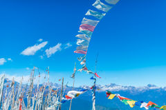 Prayer flags. Worship symbol for buddhist at the himalaya nation royalty free stock photo
