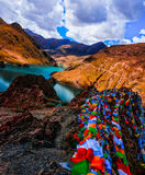 Prayer flags at Yamdrok Lake, Tibet. Stock Image