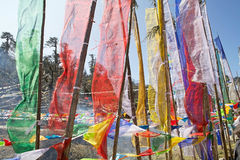 Prayer flags at the Yutong La Pass, Bhutan. Praye flags at Yutong La Pass, Bhutan. Prayer flags come in sets of five: one in each colors. The five colors are Royalty Free Stock Photography