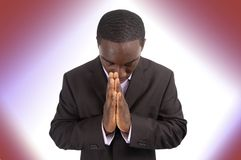 Prayer Focus. This is an image of a businessman focussing on prayer Stock Photos