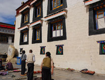 Prayer in front of the Jokhang temple stock photos