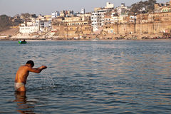 Prayer on Ganges river Royalty Free Stock Photo