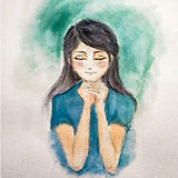 Painting by water color of prayer women in blue t-shirt. Stock Image