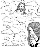 Prayer girl and Jesus in the sky. Jesus Christ, blessing, Christianity Stock Photos