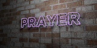 PRAYER - Glowing Neon Sign on stonework wall - 3D rendered royalty free stock illustration Stock Images