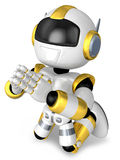 Prayer and Gold Robot. 3D Robot Character Design Stock Photo