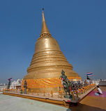 Prayer in Golden Mount Temple (Wat Sakate) in Bangkok Royalty Free Stock Image