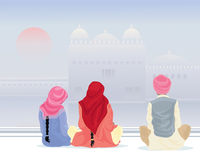 Prayer at the gurdwara. An illustration of three sikh pilgrims in traditional clothing praying by a holy pool with gurdwara under a misty sky Royalty Free Stock Image