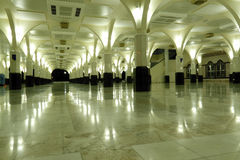 Prayer hall. An image of a Muslim mosque prayer hall lighted up at night stock photo