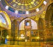 The prayer hall of Bethlehem church in Isfahan, Iran. ISFAHAN, IRAN - OCTOBER 20,2017: The  richly decorated prayer hall of Armenian Orthodox Bethlehem Church in Stock Photos