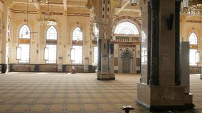 The Prayer Hall in the Mosque. The Great Mosque is Located in the City of Hurghada. The Sacred Hall is Spacious. The Floor is Covered With a Brown Carpet. Koran stock video