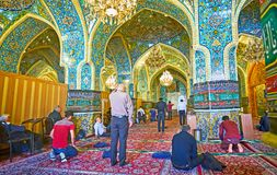 The prayer hall of Shah`s Mosque in Tehran Royalty Free Stock Image