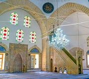 The prayer hall of Tekeli Mehmet Pasa Mosque in Antalya stock photography