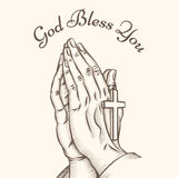 Prayer hand with cross. Religious and god, pray and holy, spirituality and crucifix, vector illustration Royalty Free Stock Photo
